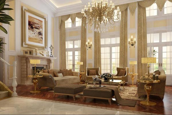 跃层别墅装修效果图4—欧式想象 这是一张跃层别墅客厅的全景图,我们发现,其中的欧式沙发摆放非常讲究。双人沙发、单人沙发,沙发凳,茶几,沙发角几,应有尽有,极尽奢华。在图片的一角看见了跃层楼梯,虽然不能够看见全景,但从客厅的布置就能够想象出跃层的装扮是如何极尽豪华的。